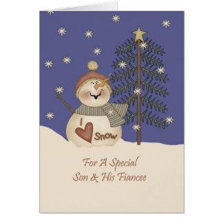 Cute Snowman Christmas Son & Fiancee Greeting Card