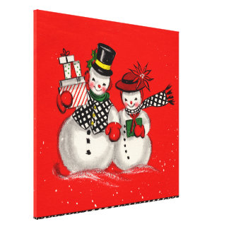 Cute Snowman Couple Gallery Wrapped Canvas