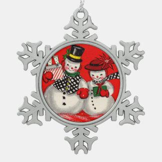Cute Snowman Couple Pewter Snowflake Decoration