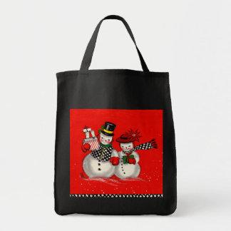 Cute Snowman Couple Tote Bag