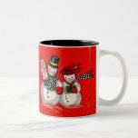 Cute Snowman Couple Two-Tone Mug