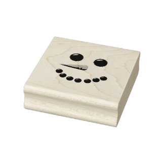 Cute Snowman Face Rubber Stamp