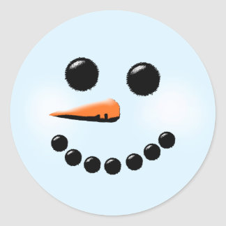 Cute Snowman Face Winter Holiday Snowmen Classic Round Sticker