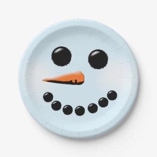 Cute Snowman Face Winter Holiday Snowmen Xmas 7 Inch Paper Plate