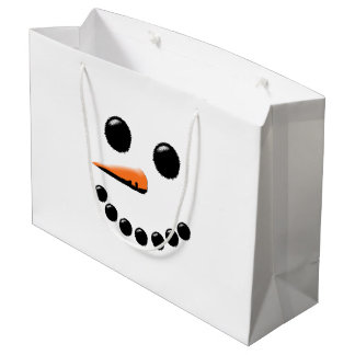Cute Snowman Face Winter Holiday Snowmen Xmas Large Gift Bag
