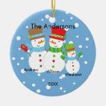 Cute Snowman Family of 3 Christmas Ornament