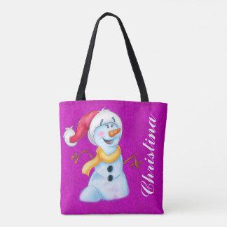 Cute snowman girl cartoon tote bag customized your