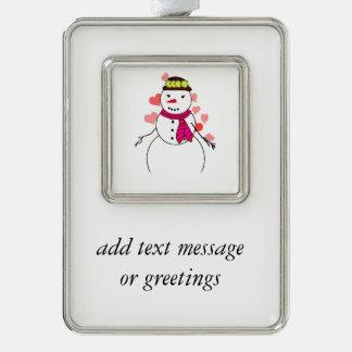 Cute Snowman (Girl) -  Little Flirty Sweetheart Silver Plated Framed Ornament