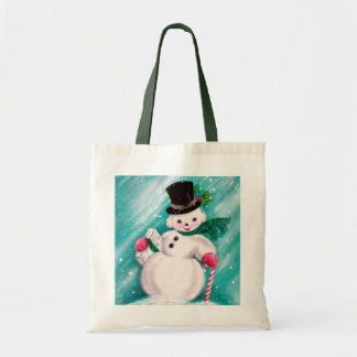 Cute Snowman Girl Tote Bag