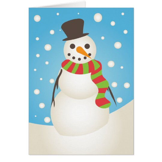 Cute Snowman Holiday Greeting Card