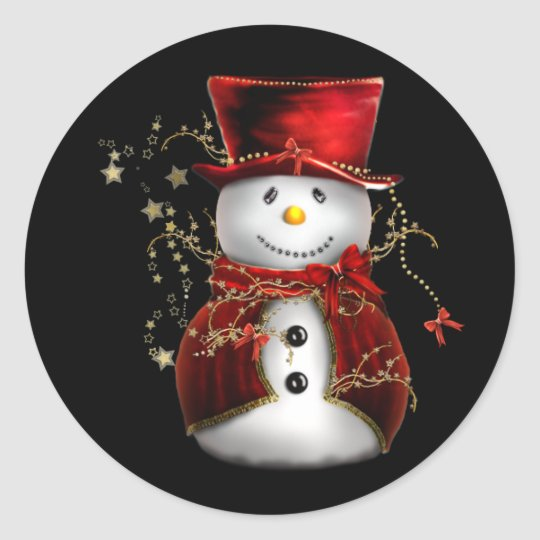 Cute Snowman in Red Velvet Christmas Classic Round Sticker