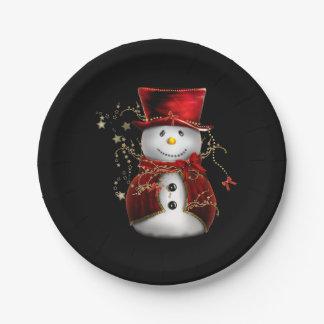 Cute Snowman in Red Velvet Christmas Paper Plate