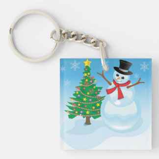 Cute Snowman Double-Sided Square Acrylic Key Ring