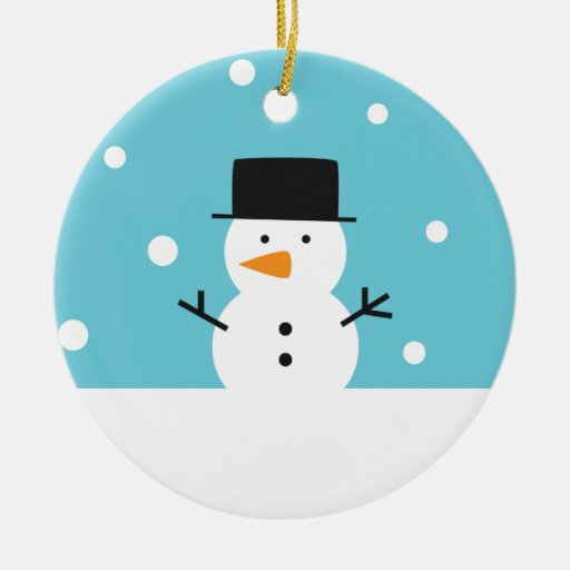 Cute Snowman on snow background for Christmas Ornaments
