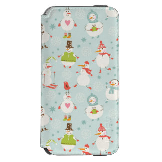 Cute Snowman Pattern Incipio Watson™ iPhone 6 Wallet Case