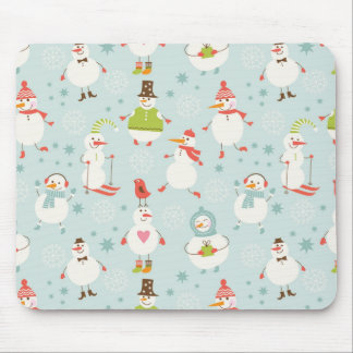 Cute Snowman Pattern Mouse Pad
