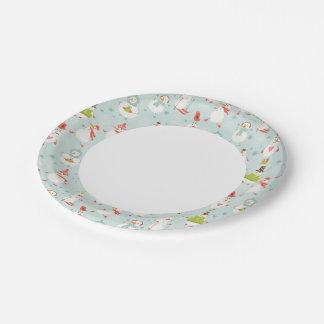 Cute Snowman Pattern Paper Plate