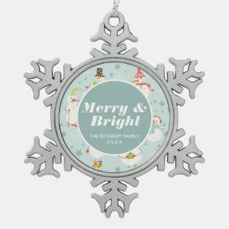 Cute Snowman Pattern Snowflake Pewter Christmas Ornament
