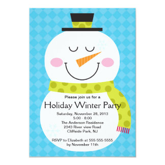 Cute Snowman Winter Party Invitation