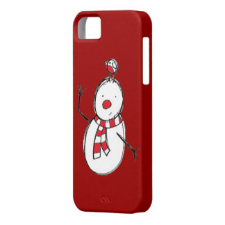 Cute Snowman with Bird iPhone 5 Case