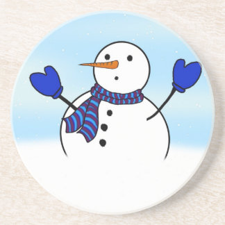 Cute Snowman With Blue Mittens Beverage Coaster