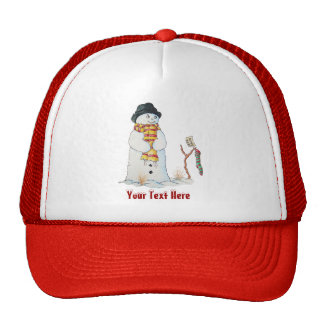Cute snowman with Christmas stocking in the snow Trucker Hat