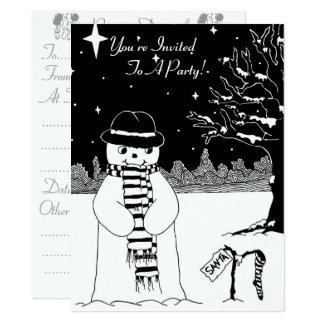 Cute snowman with hat black and white christmas card