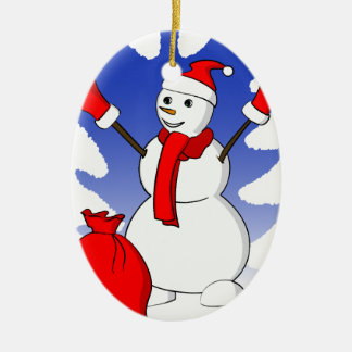 Cute snowman with red gloves and snowflakes christmas ornament