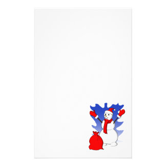 Cute snowman with red gloves and snowflakes personalized stationery