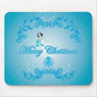 Cute snowman with soft blue background mousepad