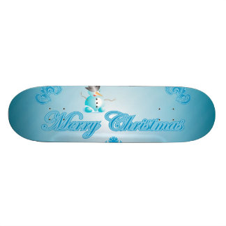 Cute snowman with soft blue background skateboard decks