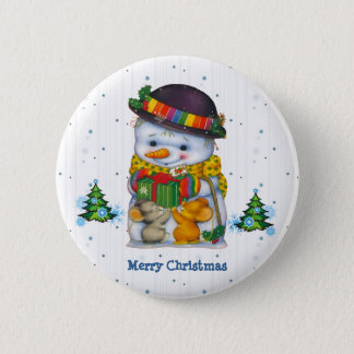 Cute Snowman with two little mice Button