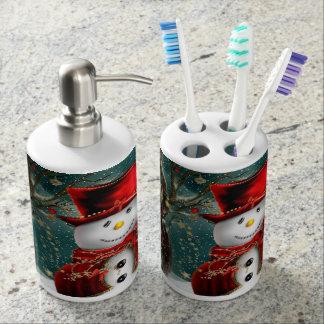 Cute snowmans - snowman illustration bathroom set