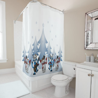 Cute Snowmen and Crazy Reindeer Christmas Holiday Shower Curtain