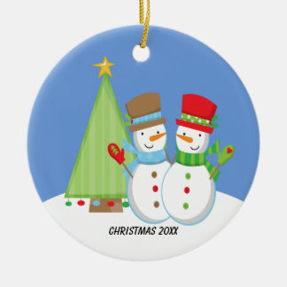 Cute Snowmen by Tree Christmas Ornament