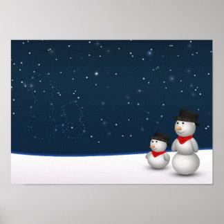 Cute Snowmen Constellation - Poster