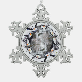 Cute snowmen dressed for winter snowflake pewter christmas ornament