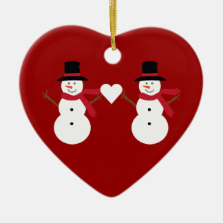 Cute Snowmen & Heart Red Heart Shaped Ornament