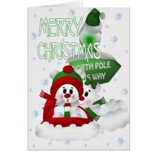 Cute Snowmen on a sledge Greeting Card