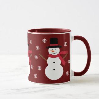 Cute Snowmen & Snowflakes Festive Red Ringer Mug