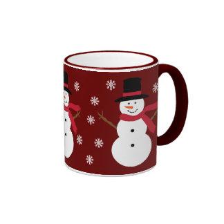Cute Snowmen Snowflakes Festive Red Ringer Mug
