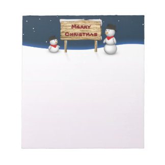 Cute Snowmen with Christmas Sign - Notepad