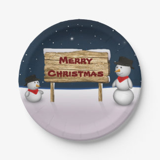 Cute Snowmen with Christmas Sign - Paper Plate