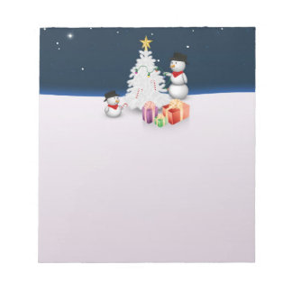 Cute Snowmen with Christmas Tree - Notepad