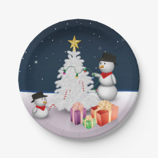 Cute Snowmen with Christmas Tree - Paper Plate