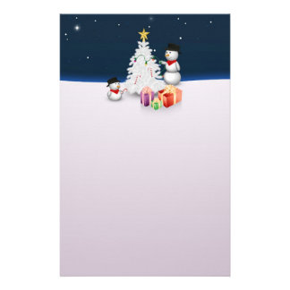 Cute Snowmen with Christmas Tree - Stationery