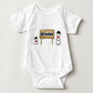 Cute Snowmen with Name Wood Sign - Baby Bodysuit