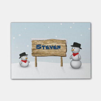 Cute Snowmen with Name Wood Sign - Post-it® Notes