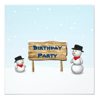 Cute Snowmen with Sign - Birthday Invitation