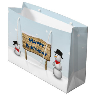 Cute Snowmen with Sign - Birthday Large Gift Bag